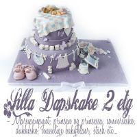 Lilla 2etg Dåpskake – prins, prinsesse, babysko, nusselige babyklær etc i marsipan… {Bildedryss}