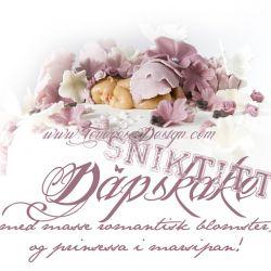 Sniktitt Dåpskake til ei nydelig prinsesse – gammelrosa, lyserosa og hvit