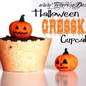 Halloween Cupcakes med nusselige Gresskar av marsipan {Trinn-for-Trinn}