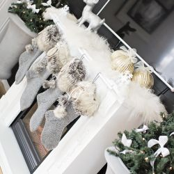 { Hvordan lage julestrømper - strikkede med pels og glitter #rustikk }