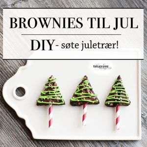 { Brownies til jul - små juletrær på pinne! }