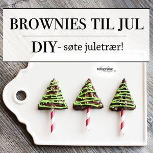 { Brownies til jul - små juletrær på pinne! }