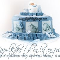 Dåpskake til en liten prins – med dåpsbarnet i marsipan; i ei bøtte!