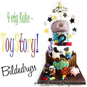 ToyStory kake 4 etg, med Buzz Lightyear, mr&mrs Potatohead etc! {Bildedryss}