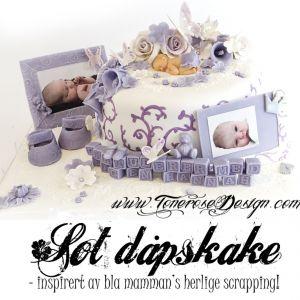 Søt Dåpskake i lys lilla og hvitt - inspirert av bla vakre scrappinga!