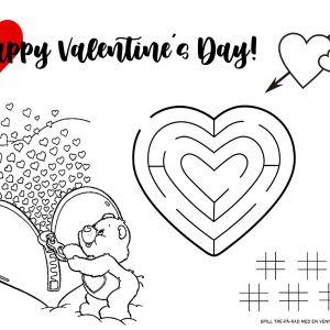 Gratis // Aktivitetsark // Valentinsdag // Dekkebrikke