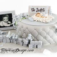 Dåpskake til skjønne lille Tor - grå og lyseblå