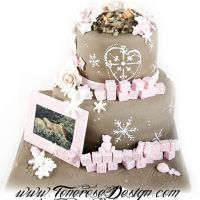 Vinterlig dåpskake i lyserosa, hvitt og brunt - inspirert av vakre invitasjonene! {Bildedryss}