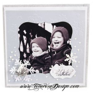 Årets Julekort 2012 {Scrappede, i lyseblått, hvitt og sølv}
