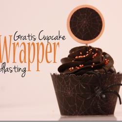 Gratis nedlasting ♥ Svart spindelvev Cupcake Wrapper + Topper