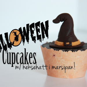 Halloween Cupcakes – med heksehatt i marsipan