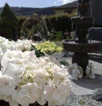Bryllup, blomster og roser i hagen
