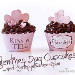 Cupcakes med marsipanhjerter - til Valentines Dag