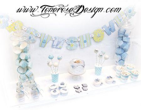{ Inspirasjon dessertbord til barnedåp eller babyshower }