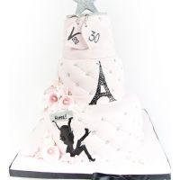 Kake til Vana Perisa - 3etg lyserosa & svart, med personlige detaljer
