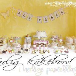 Påske-kakebord i skjønne pastellfarger