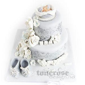 Lyseblå kake m/sølv damask { Babykake }