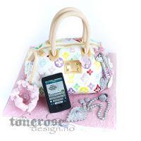 Veskekake i hvitt, rosa og ulike pastellfarger { Konfirmasjonskake }