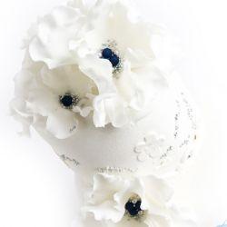 Elegant bryllupskake 3 etg   { Detaljer i Blått }