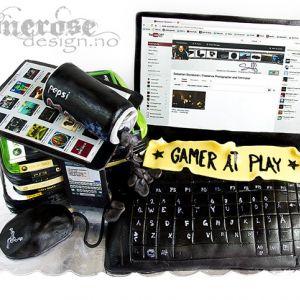 { Konfirmasjonskake } Pc, Spill, Iphone, Ipad...  - Guttekake!
