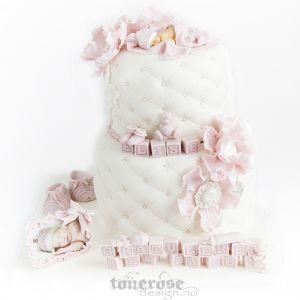 Navnfestkake til skjønne lille Elise // rosa babykake