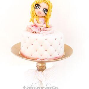 Bursdagskake med modelert prinsesse/jente