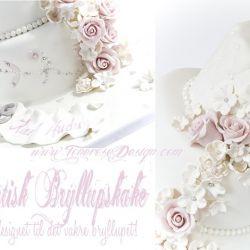 Romantisk Bryllupskake i hvit og lys rosa {Bildedryss}