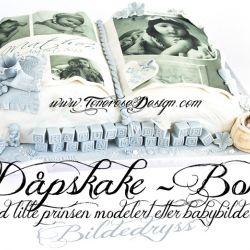 Dåpskake; BOK–med lille prinsen modelert etter babybilde {Bildedryss}