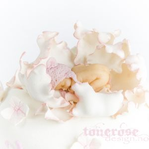 { hvit og rosa babykake }