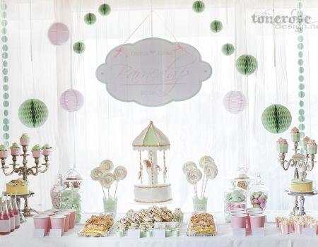 { Dessertbord barnedåp - tvillingenes dåp i mint, rosa og med karusell-tema }