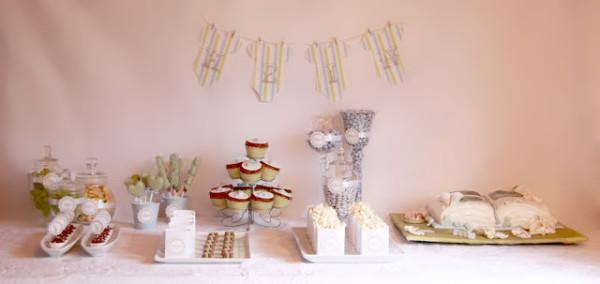 Kakebord / Dessertbord Barnedåp – Inspirasjon i mosegrønt og lyseblått ♥