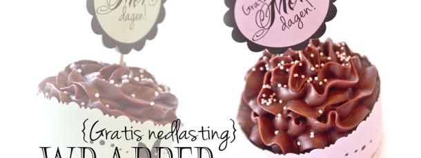 Cupcake Wrapper til Morsdagen {Gratis nedlasting}