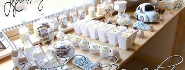 Kakebord i hvitt og aqua { Inspirasjon Julians barnedåp } Del 5