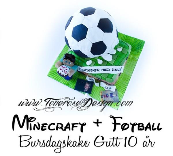Minecraft + Fotball {Bursdagskake Gutt}