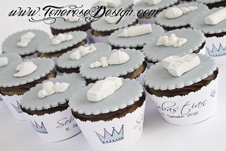 Søte cupcakes til barnedåp - prins - blå