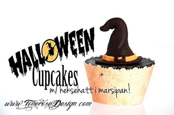 halloween cupcake med heksehatt