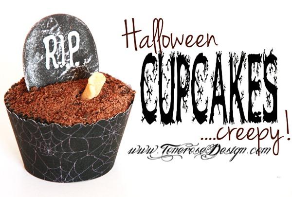 halloween-cupcakes-creepy med gravstøtte og hånd