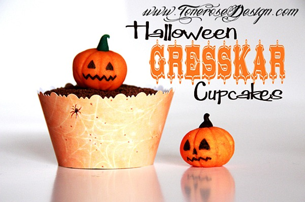 halloween cupcakes med gresskar