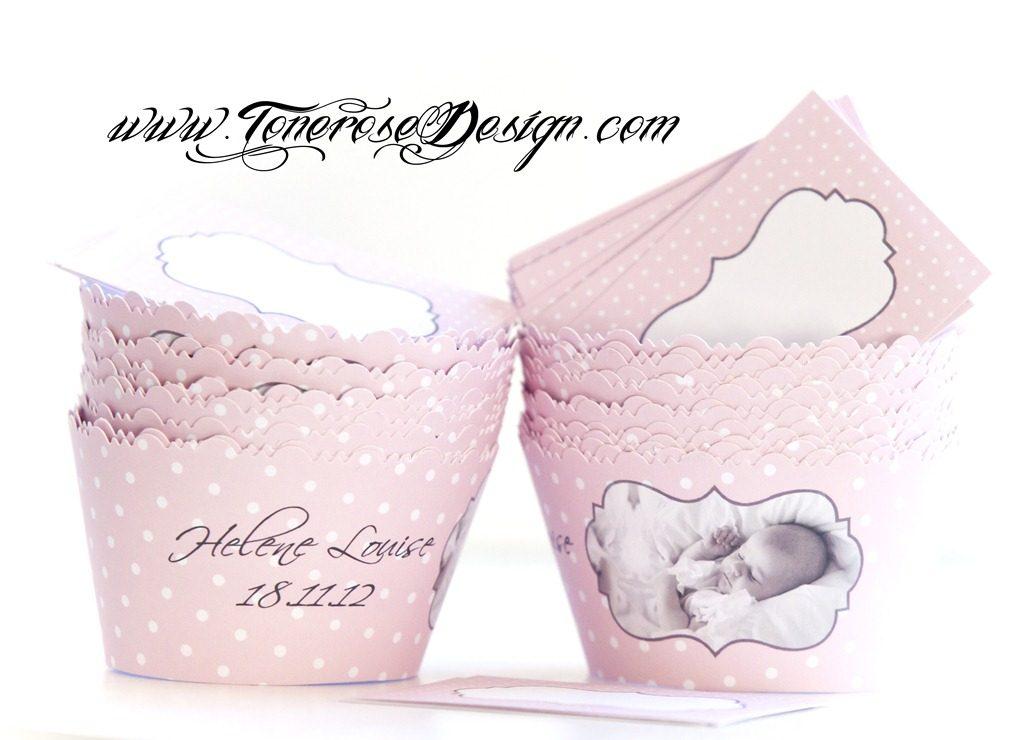 trykksaker barnedåp jente rosa cupcakewrappere med bilde