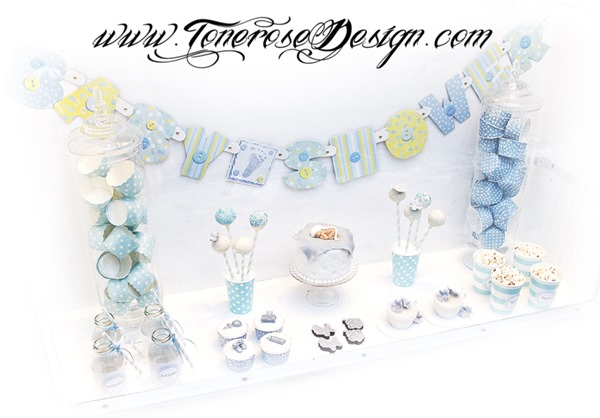 Lite dessertbord / kakebord i lyseblått