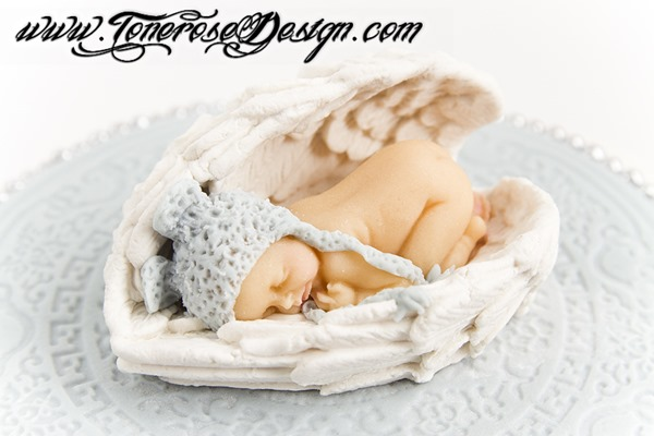 Marsipanbaby - Barnedåp dåpskake lyseblå og hvit