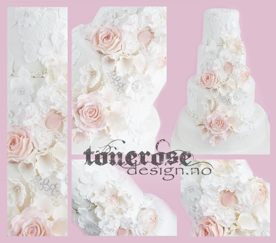 Romantiske blomster bryllupskake copy