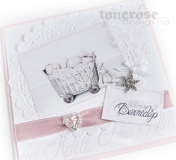 Invitasjon barnedåp - blonder - gammelrosa - scrapping - dåpskort