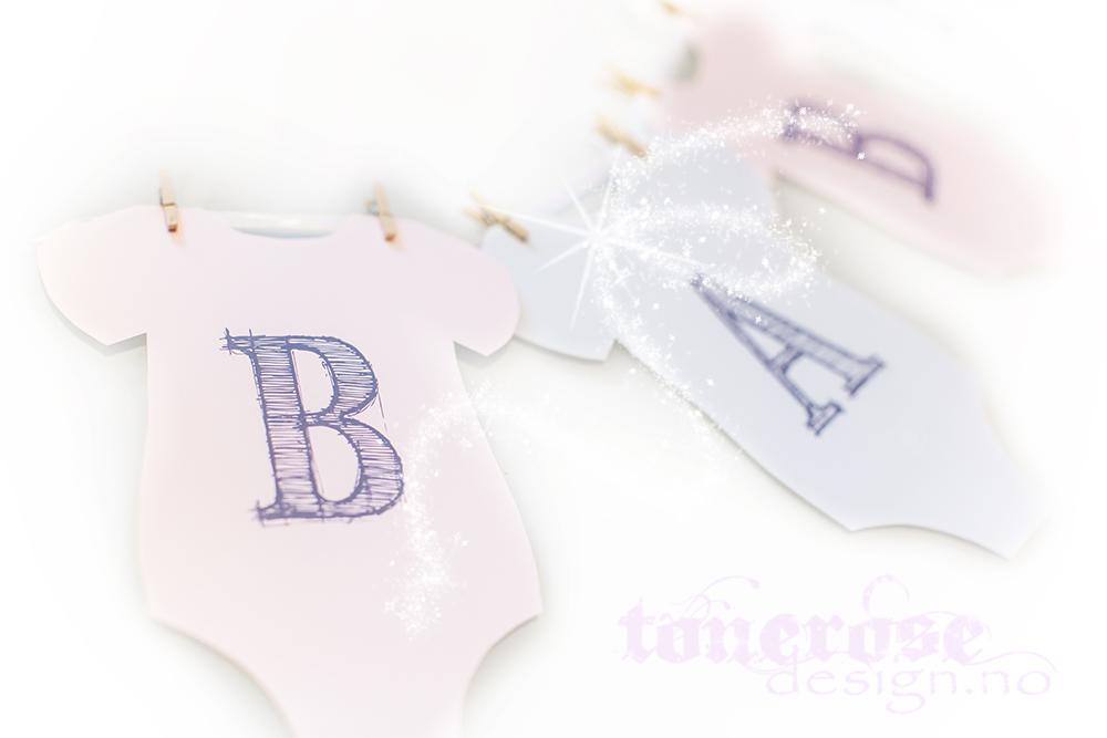 Gratis vimpelrekke / banner små body - barnerom eller barnedåp
