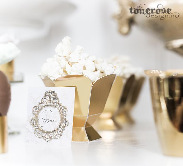 Pocpornbokser i gull til dessertbord / kakebord
