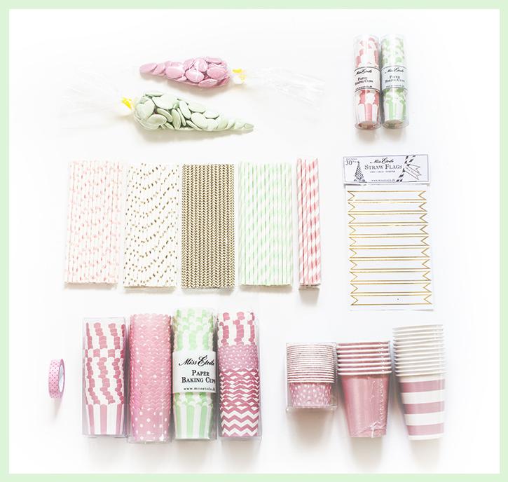 Rosa og mintgrønt dessertbord - barnedåp