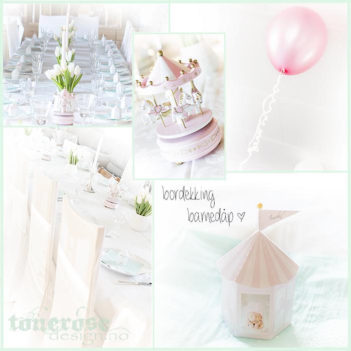 Barnedåp inspirasjon bordekking rosa og mintgrønn