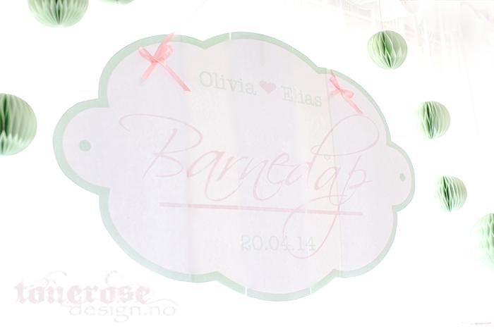 Vakkert skilt til barnedåp - rosa og mint