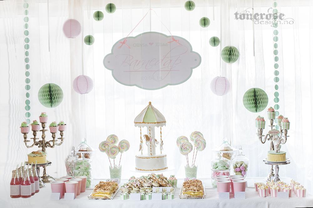 Dessertbord barnedåp - karusell, rosa og mintgrønn