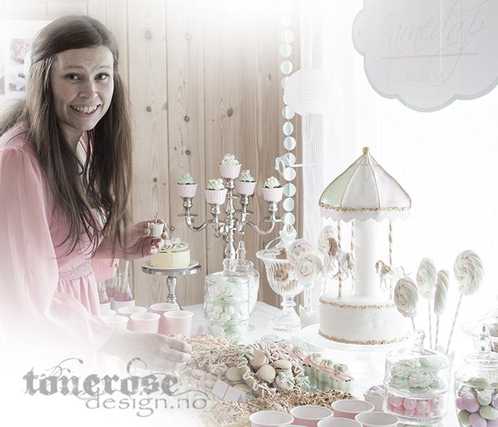 Kakebord / Dessertbord barnedåp - lyserosa og mintgrønt